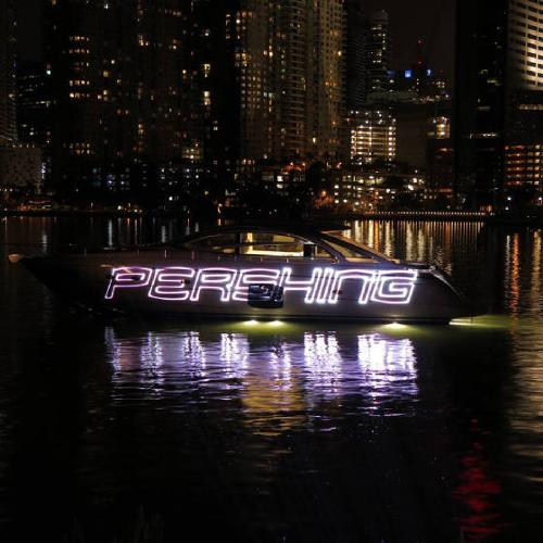 PERSHING line of luxury yatchs, laser show at the Mandarin Oriental Miami